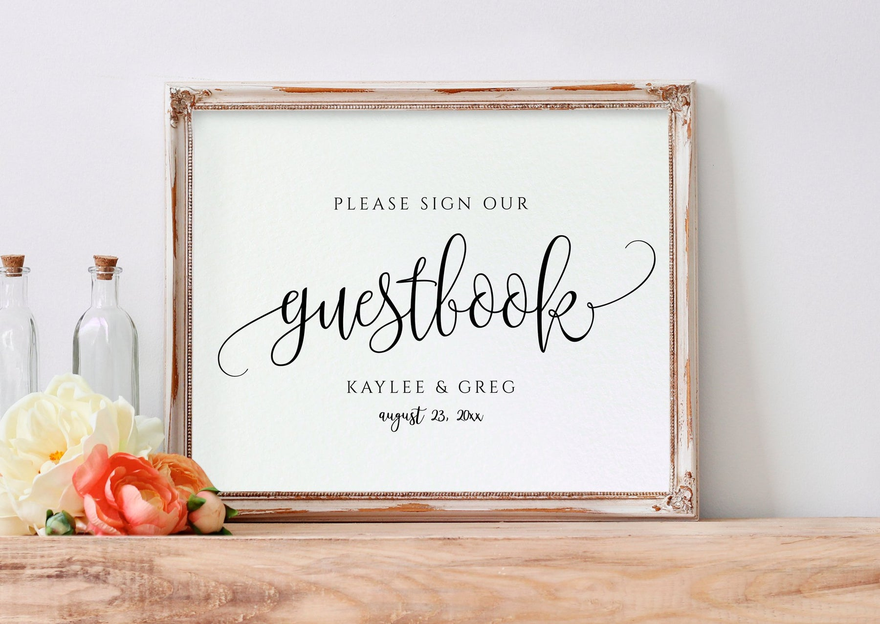 Printable Wedding Sign  Guest Book (9x9) PDF  Rustic Calligraphy (B