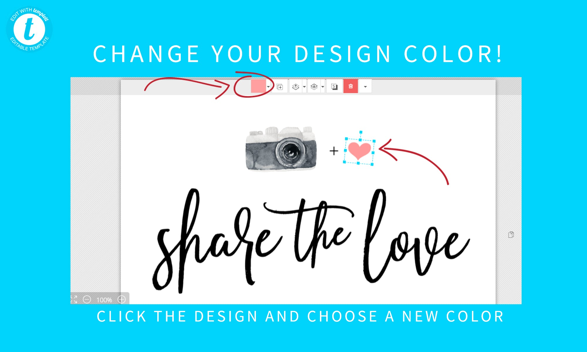 WS67 Share the love sign Watercolor Wedding Hashtag Sign Modern Share the Love Sign Template Classic Blue Wedding Hashtag