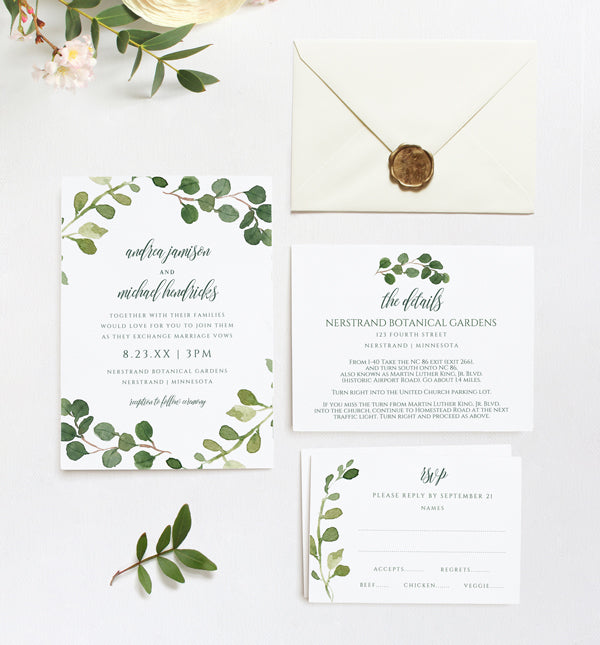Wedding Invitation Template Suite Set