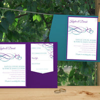 Purple & Jade Hearts Wedding Pocket