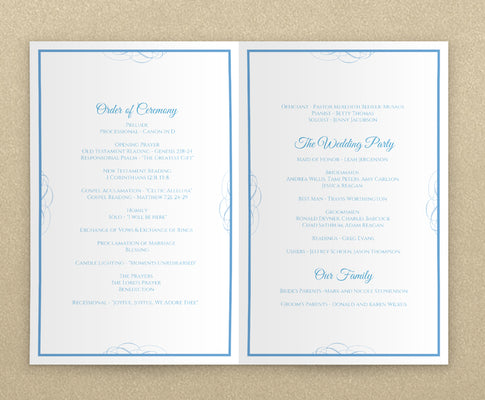foldover wedding program template booklet beloved cornflower blue