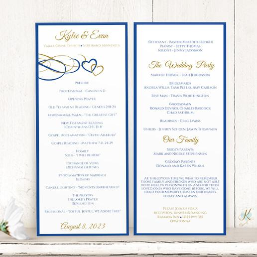 Wedding Program Template Beloved Horizon Blue Gold Tea Length