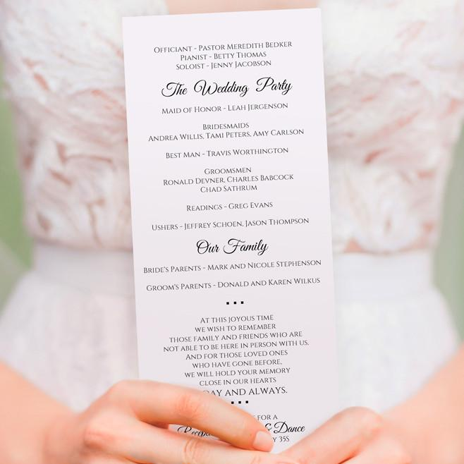 Basic Wedding Program Template Editable Pdf Instant Download Tea