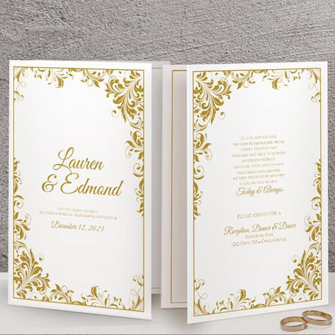 gold wedding program template