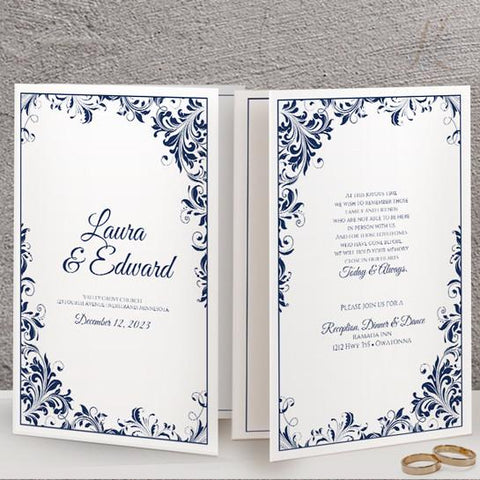 navy wedding program template