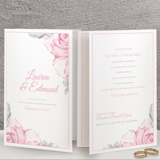 foldover wedding program template watercolor bouquet pink gray