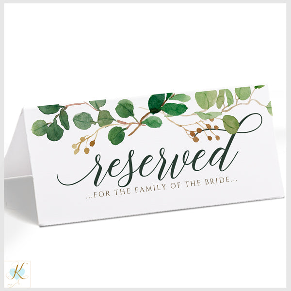 picture relating to Printable Reserved Signs for Wedding referred to as Marriage ceremony Reserved Signal (Editable PDF Down load) Eucalyptus Leaves