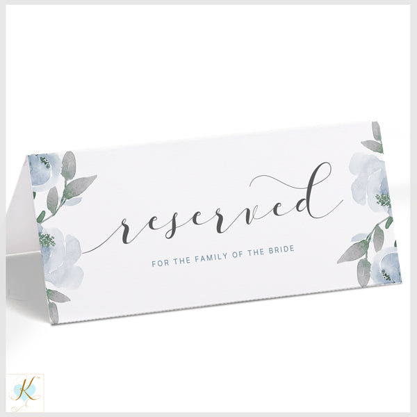 picture about Reserved Sign Printable named Printable Reserved Indication Template (Editable PDF Down load) Gentle Dusty Blue Watercolor Bouquet