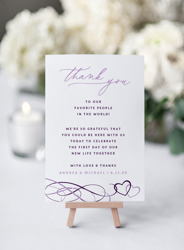 016f333257188 Wedding Thank You Table Card Template (Flat 4 x 6 - for Tables) | Belo