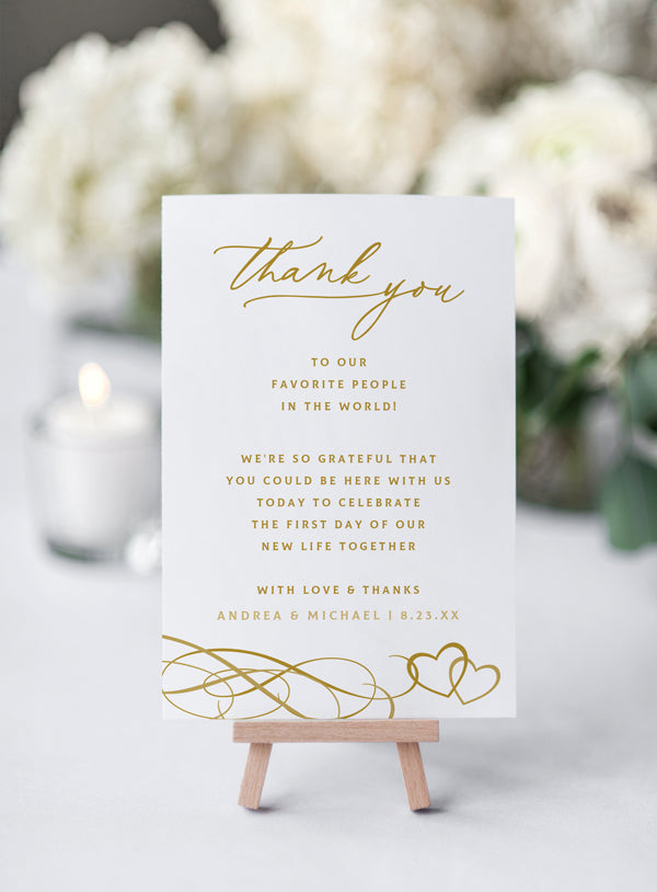Wedding Thank You Table Card Template (Flat 4 x 6 - for ...