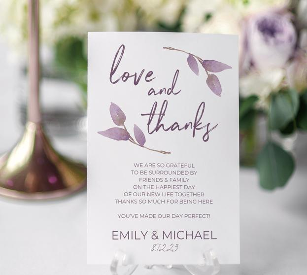 Thank You Table Card Template Flat Boho Vines Dusty Purple X - 4x6 thank you card template