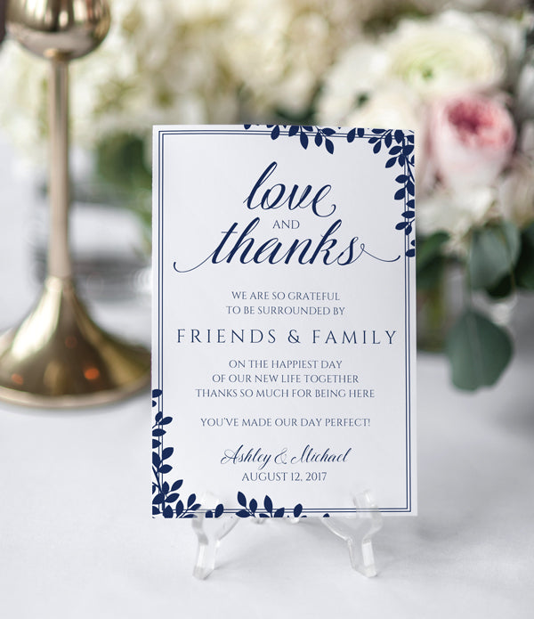 Editable PDF Thank You Table Card Template (Flat) | Leaf Frame (Navy Blue) 4 x 6, _related_leaf-frame-navy, _tab1_delivery, Blue, Editable PDF
