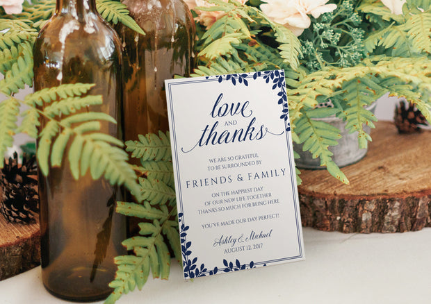 printable wedding template - thank you card