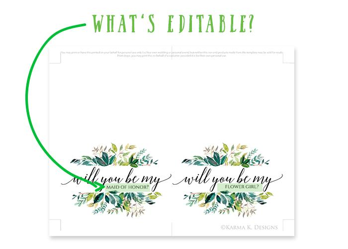 Will You Be My Bridesmaid, Flower Girl, Etc. | Printable Card Template