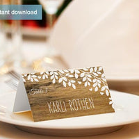 Rustic Wood Wedding Place Card Tents - Editable Text