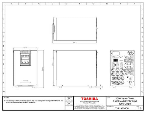 Toshiba 3 kva double conversion online ups ut1a1a030c6 toromont 3 kva tower ups drawings ccuart Gallery