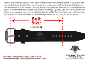 Relentless Tactical Belts The Colossal Concealed Carry CCW Gun Belt - Black - 1 3/4 inch - Made in USA - Lifetime Warranty
