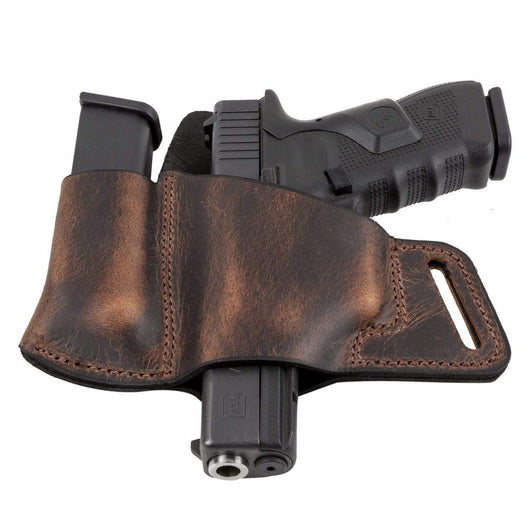 CLEARANCE !!!! Comfort Carry Leather Holster & Mag Pouch Combo | Made In USA Holsters Brown / Left Handed