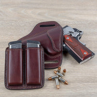 Load image into Gallery viewer, CLEARANCE!! Leather 2 Magazine Holder | Made In USA | Fits virtually any 9mm, .40, .45 or .380 Pistol Mag | Single or Double Stack | IWB or OWB