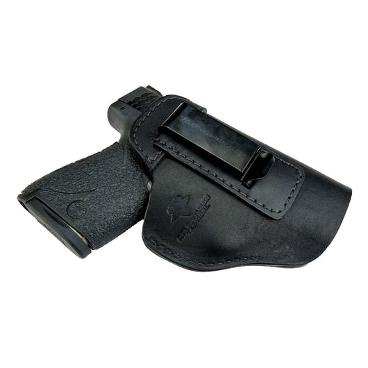 CLEARANCE!!  The Defender Leather IWB Holster - S&W Shield/Glock/XD Handguns  - Made in USA Holsters Black / Inside the Waistband - Right Side