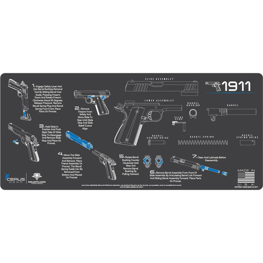 Gun Cleaning Mat Instructional Handguns Made In The Usa