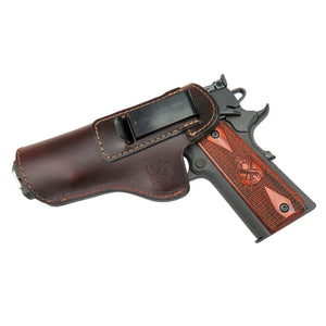 Relentless Tactical Holsters CLEARANCE!! The Defender Leather IWB Holster - Fits All 1911 Style Handguns - Made in USA Brown / Inside the Waistband - Left Side