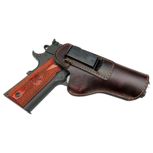 Relentless Tactical Holsters CLEARANCE!! The Defender Leather IWB Holster - Fits All 1911 Style Handguns - Made in USA Brown / Inside the Waistband - Right Side