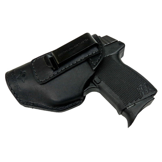 Relentless Tactical Holsters CLEARANCE!! The Defender Leather IWB Holster - Fits Glock 42 | Ruger LC9, LC9s | Kahr CM9, MK9, P9 | Kel-Tec PF9, PF11 | Kimber Solo Carry - Made in USA Black / Inside the Waistband - Left Side