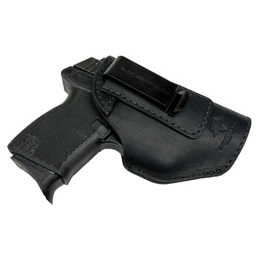 Relentless Tactical Holsters CLEARANCE!! The Defender Leather IWB Holster - Fits Glock 42 | Ruger LC9, LC9s | Kahr CM9, MK9, P9 | Kel-Tec PF9, PF11 | Kimber Solo Carry - Made in USA Black / Inside the Waistband - Right Side