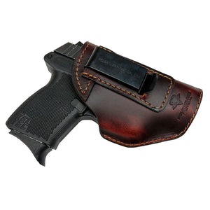 Relentless Tactical Holsters CLEARANCE!! The Defender Leather IWB Holster - Fits Glock 42 | Ruger LC9, LC9s | Kahr CM9, MK9, P9 | Kel-Tec PF9, PF11 | Kimber Solo Carry - Made in USA Brown / Inside the Waistband - Right Side