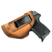 Load image into Gallery viewer, Relentless Tactical Holsters CLEARANCE!! The Defender Leather IWB Holster - Fits Glock 42 | Ruger LC9, LC9s | Kahr CM9, MK9, P9 | Kel-Tec PF9, PF11 | Kimber Solo Carry - Made in USA Oak / Inside the Waistband - Left Side