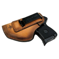 Load image into Gallery viewer, Relentless Tactical Holsters CLEARANCE!! The Defender Leather IWB Holster - Fits Ruger LCP, LCP2, Sig P238, P290, S&W Bodyguard .380 and Most .380's - Made in USA Oak / Inside the Waistband - Left Side