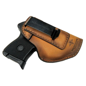 Relentless Tactical Holsters CLEARANCE!! The Defender Leather IWB Holster - Fits Ruger LCP, LCP2, Sig P238, P290, S&W Bodyguard .380 and Most .380's - Made in USA Oak / Inside the Waistband - Right Side