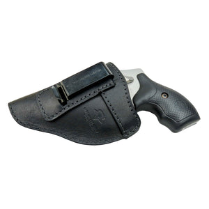 Relentless Tactical Holsters CLEARANCE!!! The Defender Leather IWB Holster - Fits Snub Nose Style Revolver - Made in USA Inside the Waistband - Left Handed / Black