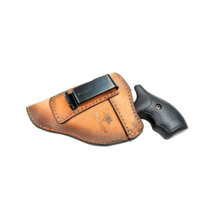 Relentless Tactical Holsters CLEARANCE!!! The Defender Leather IWB Holster - Fits Snub Nose Style Revolver - Made in USA Inside the Waistband - Left Handed / Oak