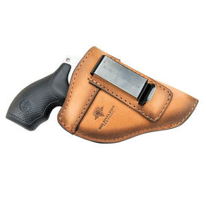 Relentless Tactical Holsters CLEARANCE!!! The Defender Leather IWB Holster - Fits Snub Nose Style Revolver - Made in USA Inside the Waistband - Right Handed / Oak