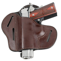 Load image into Gallery viewer, Relentless Tactical Holsters CLEARANCE!! The Ultimate Leather Gun Holster | 3 Slot Pancake Style Belt Holster | Handmade in the USA! | Fits all 1911 Style Handguns 1911 Left Handed / Brown