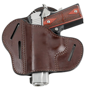 Relentless Tactical Holsters CLEARANCE!! The Ultimate Leather Gun Holster | 3 Slot Pancake Style Belt Holster | Handmade in the USA! | Fits all 1911 Style Handguns 1911 Left Handed / Brown
