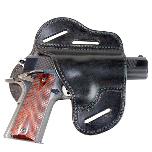 Relentless Tactical Holsters CLEARANCE!! The Ultimate Leather Gun Holster | 3 Slot Pancake Style Belt Holster | Handmade in the USA! | Fits all 1911 Style Handguns 1911 Right Handed / Black