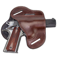 Load image into Gallery viewer, Relentless Tactical Holsters CLEARANCE!! The Ultimate Leather Gun Holster | 3 Slot Pancake Style Belt Holster | Handmade in the USA! | Fits all 1911 Style Handguns 1911 Right Handed / Brown