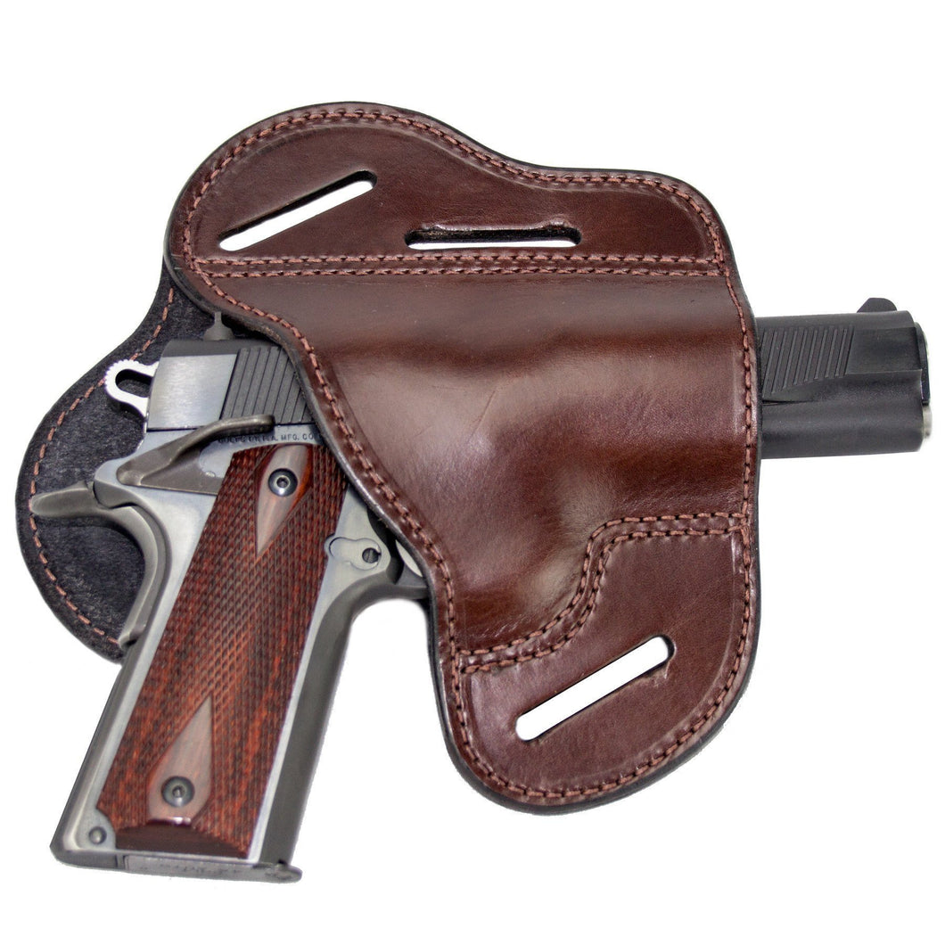 Relentless Tactical Holsters CLEARANCE!! The Ultimate Leather Gun Holster | 3 Slot Pancake Style Belt Holster | Handmade in the USA! | Fits all 1911 Style Handguns 1911 Right Handed / Brown