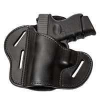 Load image into Gallery viewer, Relentless Tactical Holsters CLEARANCE!! The Ultimate Leather Gun Holster | 3 Slot Pancake Style Belt Holster | Handmade in the USA! | Fits S&W Shield/Glock/XD Glock XD Left Handed / Black