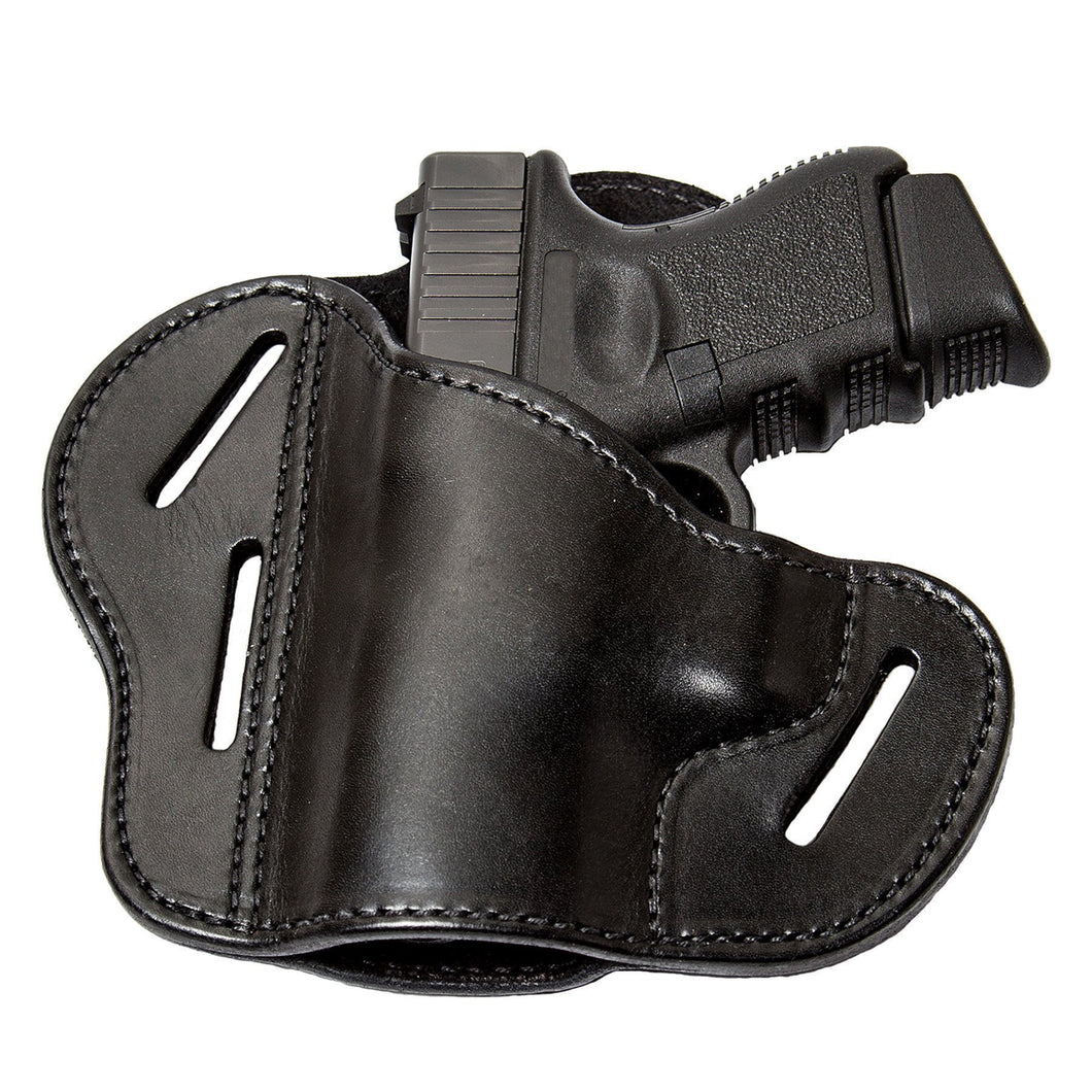 Relentless Tactical Holsters CLEARANCE!! The Ultimate Leather Gun Holster | 3 Slot Pancake Style Belt Holster | Handmade in the USA! | Fits S&W Shield/Glock/XD Glock XD Left Handed / Black