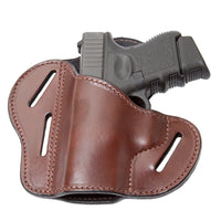 Load image into Gallery viewer, Relentless Tactical Holsters CLEARANCE!! The Ultimate Leather Gun Holster | 3 Slot Pancake Style Belt Holster | Handmade in the USA! | Fits S&W Shield/Glock/XD Glock XD Left Handed / Brown
