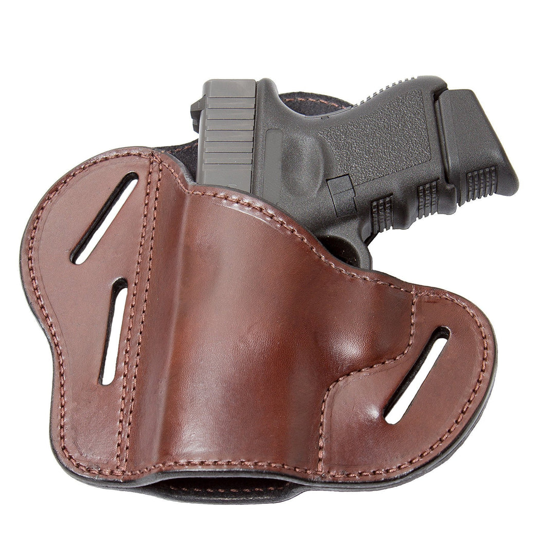 Relentless Tactical Holsters CLEARANCE!! The Ultimate Leather Gun Holster | 3 Slot Pancake Style Belt Holster | Handmade in the USA! | Fits S&W Shield/Glock/XD Glock XD Left Handed / Brown