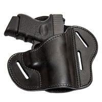 Load image into Gallery viewer, Relentless Tactical Holsters CLEARANCE!! The Ultimate Leather Gun Holster | 3 Slot Pancake Style Belt Holster | Handmade in the USA! | Fits S&W Shield/Glock/XD Glock XD Right Handed / Black