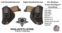 Load image into Gallery viewer, Relentless Tactical Holsters CLEARANCE!! The Ultimate Suede Leather IWB Holster - Fits Glock 42 | Ruger LC9, LC9s | Kahr CM9, MK9, P9 | Kel-Tec PF9, PF11 | Kimber Solo Carry - Lifetime Warranty - Made in USA Inside the Waistband - Right Handed / Black