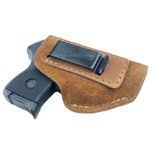 Relentless Tactical Holsters CLEARANCE!! The Ultimate Suede Leather IWB Holster - Fits Glock 42 | Ruger LC9, LC9s | Kahr CM9, MK9, P9 | Kel-Tec PF9, PF11 | Kimber Solo Carry - Lifetime Warranty - Made in USA Inside the Waistband - Right Handed / Brown