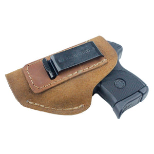 Relentless Tactical Holsters CLEARANCE!! The Ultimate Suede Leather IWB Holster - Fits Glock 42 | Ruger LC9, LC9s | Kahr CM9, MK9, P9 | Kel-Tec PF9, PF11 | Kimber Solo Carry - Lifetime Warranty - Made in USA Inside the Waistband - Left Handed / Brown