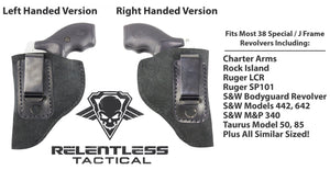 Relentless Tactical Holsters CLEARANCE!! The Ultimate Suede Leather IWB Holster - J Frame / 38 Special - Made in USA Inside the Waistband - Right Handed / Black